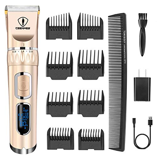 Ceenwes Hair Clippers 3-Speed Cordless Heavy Duty Clippers for Men Quiet Hair Trimmers Rechargeable Hair Removal Machine with 8 Guide Combs-Golden