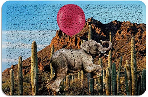 Cactus Red Balloon Cute Elephant Blue Sky Felpudo PVC Alfombras con Respaldo de Goma Alfombras de Piso Alfombra Antideslizante para Puerta de Entrada Interior Exterior Marrón