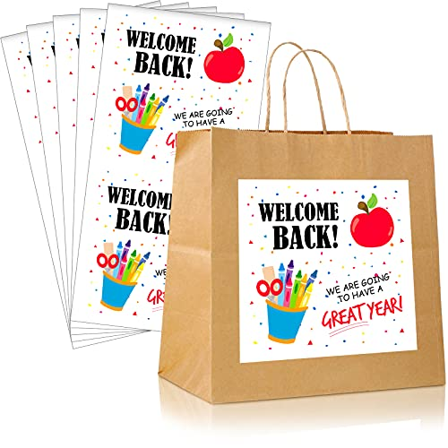 Back-to-School Stickers Labels 4 Inch Stickers Paper Present Tags Stickers Label Stickers Back-to-School Present Stickers for Package Glass Bottles (40)