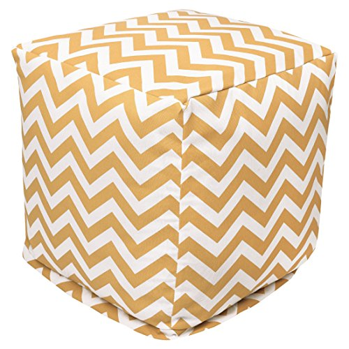 "Majestic Home Goods Yellow Chevron Indoor/Outdoor Bean Bag Ottoman Pouf Cube 17"" L x 17"" W x 17"" H"