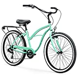 sixthreezero Around The Block Women's 7-Speed Beach Cruiser Bicycle, 24' Wheels, Mint Green with...