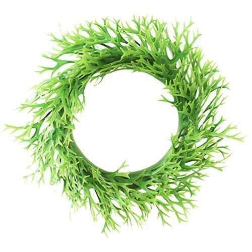 Garneck Künstliche Grüne Blätter Kranz Grünpflanze Haustür Wandbehang Girlande Kranz für Party Hochzeit Wohnkultur
