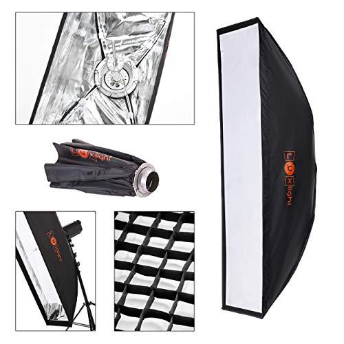30 x 140cm Softbox mit Grid | Bowens Blitz Anschluss | Luxlight® | Schirm Strip Box