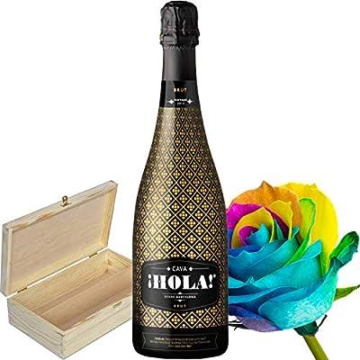 Sparkling HOLA Cava Brut Gift Set Hamper in Wooden Box, Happy Rose and Name-a-Rose Gift