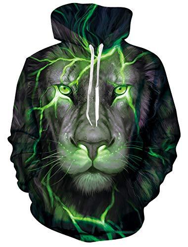 Goodstoworld 3D Lion Hoodie Kapuzenpullover Herren Damen Bunte Lowe Druck Herbst Langarm Pullover Kapuzenpullover Sport Kapuze Kleidung M