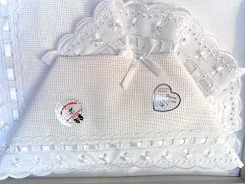 Set lenzuolino 3 pz culla lettino da ricamare con inserti in san gallo (bianco)