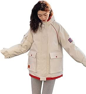 Women's Winter Jacket, Fashion Casual Jacket, Comfortable Thick Coat Jacket, Short Tooling Jacket,White,S