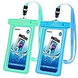 MoKo wasserdichte Hülle 2 Stück, Schwimmende Handy Tasche TPU Schutzhülle Universal IPX8 Hülle für iPhone 12/12 mini/12 Pro/11/11 Pro/X/8 Plus/7/6s, Galaxy S10/S10 Plus/S10e, Grün Blau