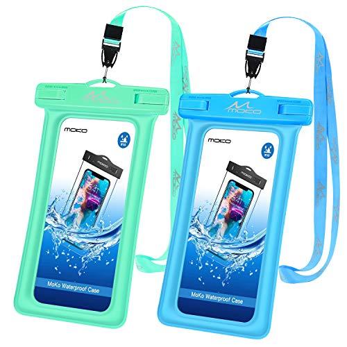 MoKo wasserdichte Hülle 2 Stück, Schwimmende Handy Tasche TPU Schutzhülle Universal IPX8 Hülle für iPhone 12/12 mini/12 Pro/11/11 Pro/X/8 Plus/7/6s, Galaxy S10/S10 Plus/S10e, Grün+Blau