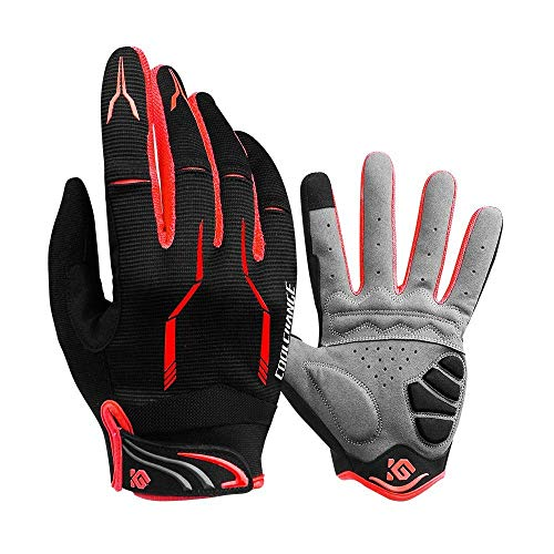 yoofun Cycle Full Finger Gloves, Mountain Bike Gloves Fox Gel Padded Road Breathable for Men Women (Red, M