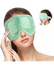 Hilph® Chłodząca maska na oczy wielokrotnego użytku gorący zimny kompresor z paskiem miękki pluszowy tył dla puffy Eyes, żelowa maska na oczy wielokrotnego użytku do zmęczonych obrzęków oczu, bólów głowy, ciemnych kół, miigreny i relaksacji