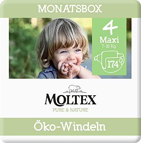 Moltex Pure & Nature Öko Windeln Größe 4 Maxi (9-15 kg) Monatsbox - 174 Bio Windeln