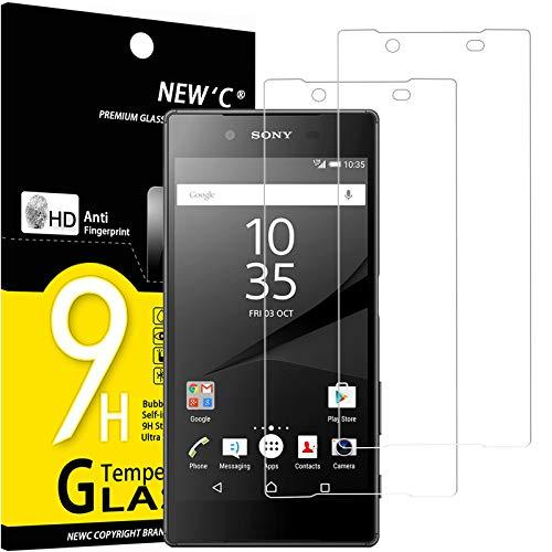 NEW'C 2 Stück, Schutzfolie Panzerglas für Sony Xperia Z5, Frei von Kratzern, 9H Festigkeit, HD Bildschirmschutzfolie, 0.33mm Ultra-klar, Ultrawiderstandsfähig