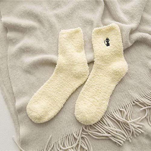 WZYDWZ Bordado Cat Ciervo Engrosamiento Mujeres Calcetines De Algodón Color Caramelo Suave Y Esponjoso Calcetines De Invierno Calcetines Señoras Divertidos Calcetines Lindos