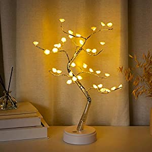 Tabletop Tree Lamp with 36 LED Sparkly Rose Tree Lamp, DIY Artificial Tree Lights Battery/USB Operated, for Bedroom Christmas Party Indoor Decor Desktop Night Lights (Warm White)