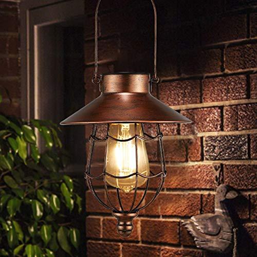 pearlstar Solar Laterne Solarleuchten für Außen Hängend Metall Vintage Gartendeko mit Warmen Lampen für Hof Terrasse Garten Baumdekoration, Outdoor Solar Landschaftsbeleuchtun (Kupfer)