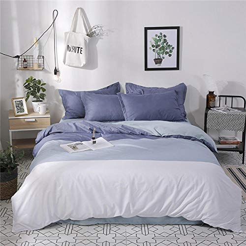 Raaooaceo Double size Bedding Sets Kids Clubhouse Super Soft 3 Piece Simple white gray pattern in Classic Design Bedding Set - Duvet Cover, Pillow Cases 100% Microfiber 200 x 200 cm -Baby bed
