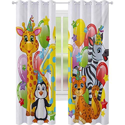 Cortinas para dormitorio, fiesta infantil con animales de safari de bebé, globos de león de cebra, telón de fondo colorido, cortina opaca de 63 pulgadas de largo para comedor, multicolor
