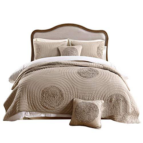 YQGOO Colcha acolchada hecha a mano, colcha reversible de doble cara, manta ligera para sofá cama, cálida colcha de 240 x 260 cm