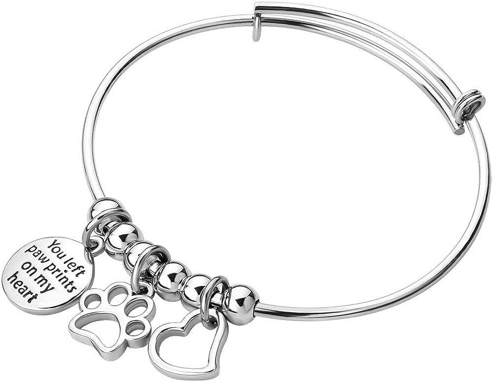 CLY Jewelry Engraved Charm Inspirational Heart Pendant Animal Paw Print Expandable Bangle Bracelet