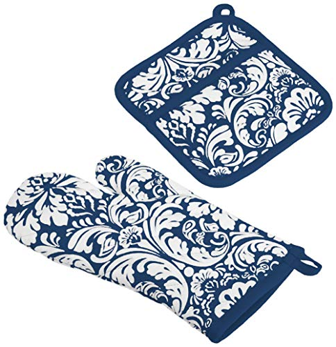 DII Cotton Damask Oven Mitt 12 x 6.5 and Pot Holder 8.5 x 8 Kitchen Gift Set, Machine Washable and Heat Resistant for Cooking and Baking-Nautical Blue