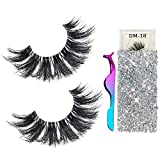 3D Mink Eyelashes Real Siberian Handmade Invisible Band False Lashes Pair with 1 Tweezers, Cruelty Free Natural Soft Curly Fake Eyelash Strips in Deluxe Box for Womens (DM-18)