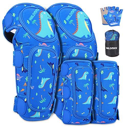 WILDMAX Rodilleras blandas para niños, coderas y guantes de bicicleta, juego de protectores para niños, para bicicleta, monopatín, patinaje, patines en línea, protectores para niños y niñas (azul)
