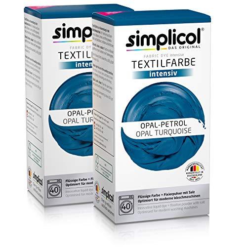 Simplicol Textilfarbe intensiv (18 Farben), Opal-Petrol 1811 2er Pack: Einfaches Färben in der Waschmaschine, All-in-1 Komplettpackung