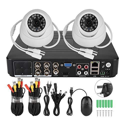 Sistema di telecamere di sicurezza 2CH Kit di telecamere di sicurezza per videosorveglianza coassiale AHD HD 500W Pixel con 2 telecamere, rilevazione di movimento, visione notturna