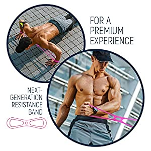 OSCIO Fitness Exercise Bands for Total Body Workout, 7-Loop Stretch Band with Handles, Chest Exerciser, Resistance Training, Women, Men, Magenta, Blue