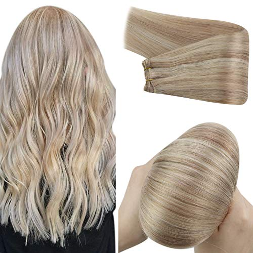 YoungSee 14inch Blonde Weft Hair Extensions Ash Blonde Highlight with Bleach Blonde Hair Extensions Weft Hair Bundles Highlight Sew in Extensions Hand Tied Hair Extensions Remy Straight Hair 100grams
