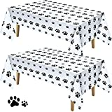 2 Pieces 70.87 x 42.52 Inch Puppy Paw Print Plastic Tablecloth...