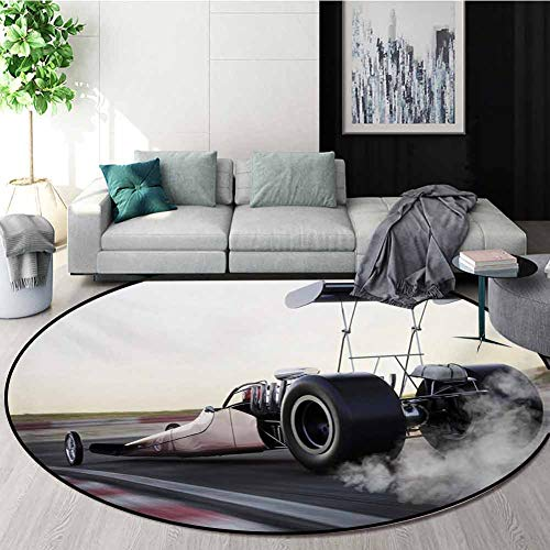 Best Price! RUGSMAT Cars Non-Slip Area Rug Pad Round,Dragster Racing Down The Track with Burnout Com...