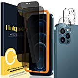 UniqueMe [2 Piezas Protector de Pantalla de Privacidad + [2 Piezas] Protector de Lente de cámara Compatible con iPhone 12 Pro 6,1 Pulgadas [Anti Voyeur] Vidrio Templado [9H Dureza] HD Film Cristal
