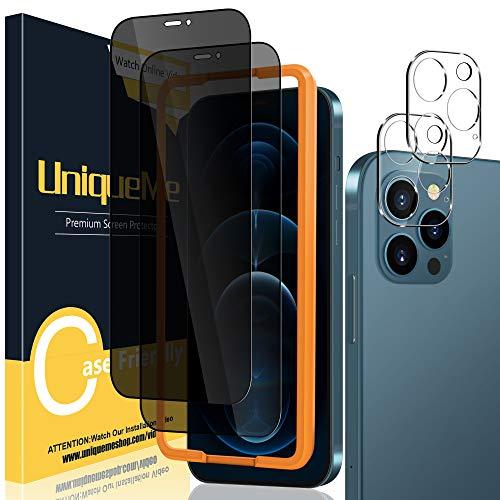 UniqueMe [2 Stück] Privatsphäre Schutzfolie + [2 Stück] Panzerglas Kamera Linse Schutzfolie Kompatibel mit iPhone 12 Pro 6,1 Inch, [Anti Voyeur] 9H Hartglas Kameraschutz Displayschutzfolie Anti-Öl