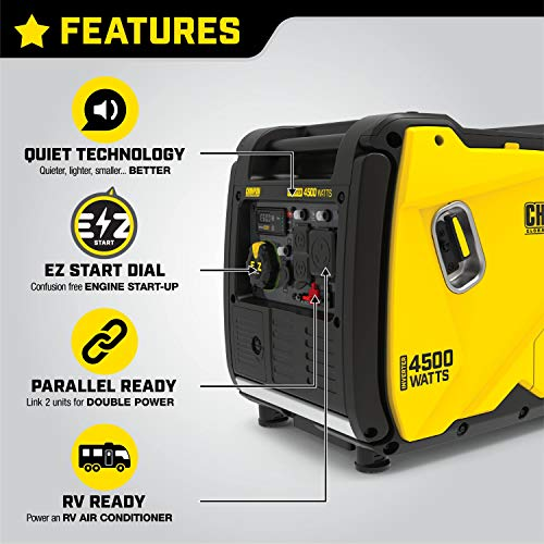 Champion Power Equipment 200986 4500-Watt Portable Inverter Generator, RV Ready