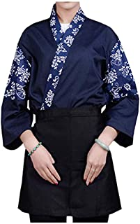 Mens Women Sushi Chef Jacket Japanese Kitchen Uniform Sushi Workwear Printed Kimono Cardigan
