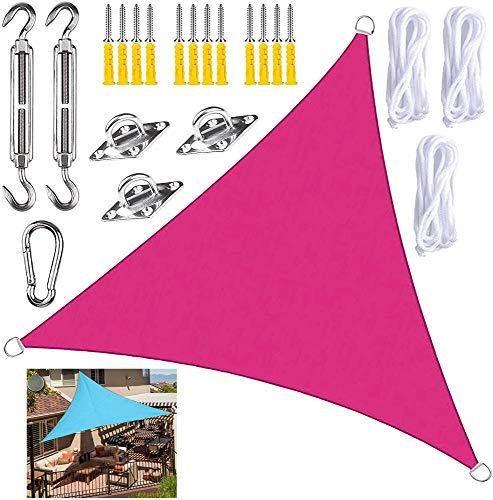 GOODSH Toldo Vela De Sombra Triangle con Kits De Montaje Protección Rayos UV Impermeables Toldo Protección Solar para Exteriores Patio Balcón Pergola Decking,Rose Red-3.6x3.6x3.6m