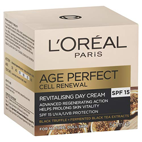 L'Oréal Paris Age Perfect Cell Renewal Revitalising Anti-Ageing SPF15 Day Moisturiser for Mature Skin, with Black Truffle, 50ml
