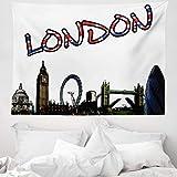 ABAKUHAUS London Wandteppich & Tagesdecke, London Tower Cartoon, aus Weiches Mikrofaser Stoff Wand Dekoration Für Schlafzimmer, 150 x 110 cm, Mehrfarbig