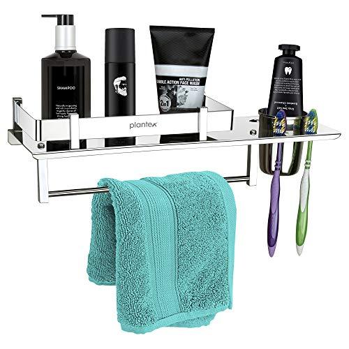 Plantex Stainless Steel 3 in 1 Multipurpose Bathroom Shelf/Rack/Towel Hanger/Tumbler Holder/Bathroom Accessories (15 x 6 Inches) - Pack of 1