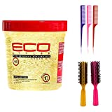Eco Style Styling Gel, Argan Oil, 24 Ounce (Including 3 Piece Rat Tail Hair Comb Set & 2 pc Colorful Handle Nylon Bristles Brushes) Eco Styler Hair Gel & Styling Tools Kit