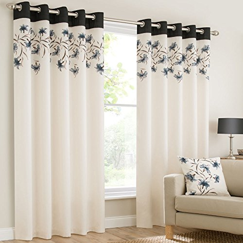 """Mirabel Pair Of Lily Floral Lined Window Curtain Panels With Eyelet Grommet Top 46""""Wide x 54""""Drop Black"""