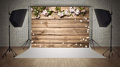 WaW Fotohintergrund Blumewand Holz Vintage Hochzeit Baby Mädchen Geburtstag Fotostudio Stoff Hintergrund Kinder Porträt Fotografie Kulisse 7x5ft