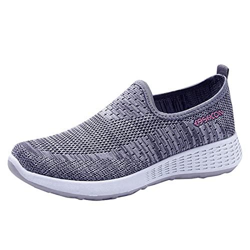Zapatillas de Deporte para Mujer, Plataforma, Color sólido, Cabeza Redonda, Zapatos Planos para Mujer, cuñas Transpirables Informales, Mocasines Caminar Zapatillas Deporte Mujer (A26_Gray,39)