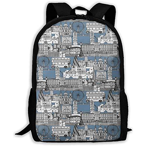 Sac à dos adulte, London Calke Abbey Blue Toile, sac à dos résistant à l'eau pour cartable étudiant adulte, cartable pour femmes hommes voyage et affaires, convient pour ordinateur portable 15 pouces