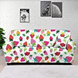 HUGS IDEA - Funda de sofá con diseño de fresa y diseño de dibujos animados, funda de sofá con funda de sofá con espuma antideslizante elástica para 4 plazas