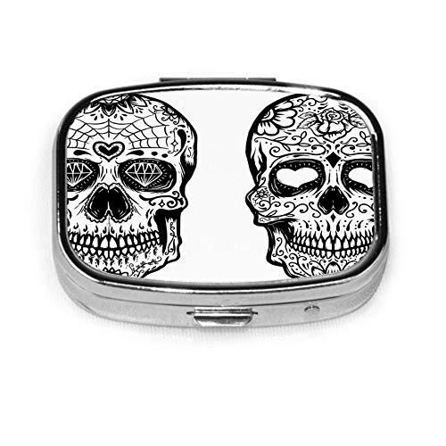 Set Sugar Skulls On Square Metal Pill Box or Organizer Holder Pocket Or Wallet Organizer Case Traveling