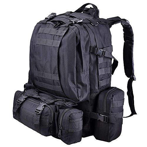 RGRGH 55 L Rucksack groß taktisch Outdoor Trekking Rucksack Militär Tasche für Wandern Camping Bergsteigen kombiniert mit 3 MOLLE-Taschen