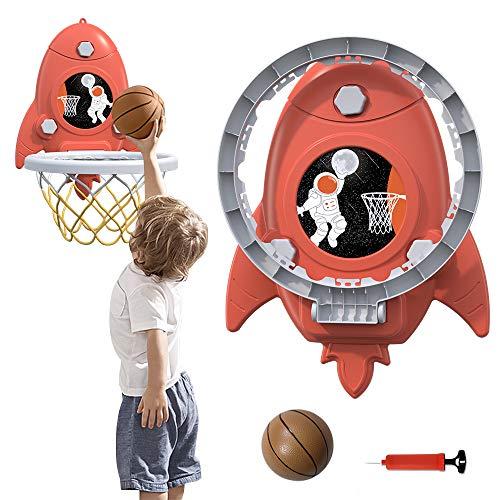 HAPPYMATY Canasta de baloncesto con pelota y bomba, para interior, para pared/puerta, minicanasta de baloncesto con ventosa, para niños, plegable, sin taladrar